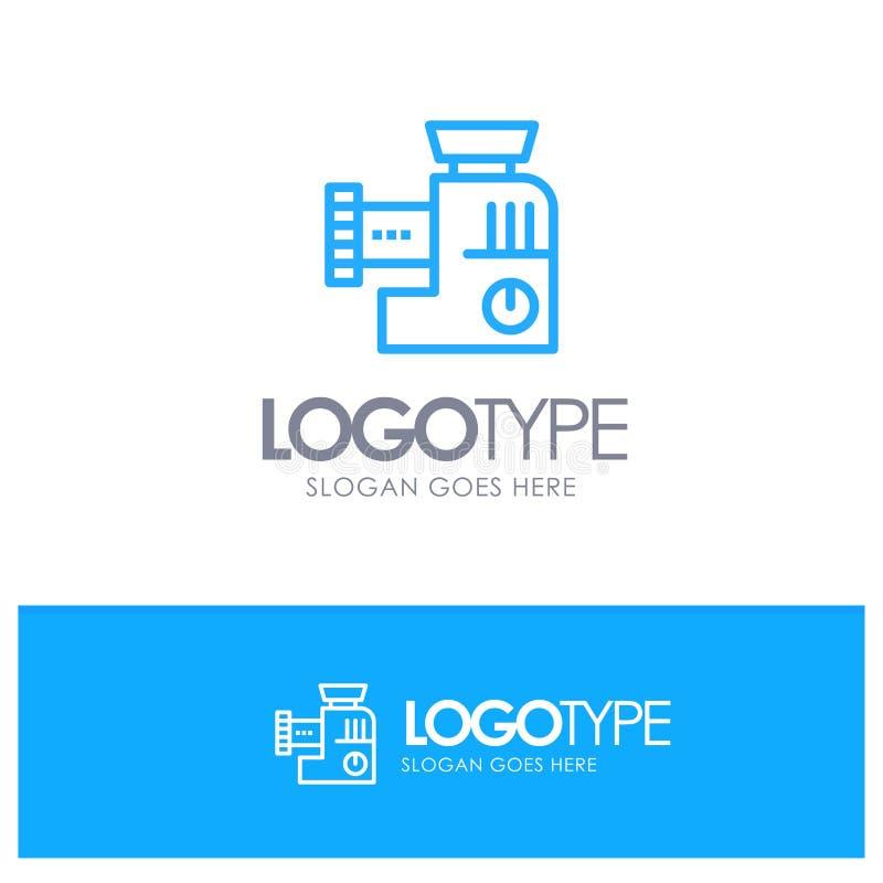 Miscelatore, cucina, manuale, miscela Logo Line Style blu royalty illustrazione gratis