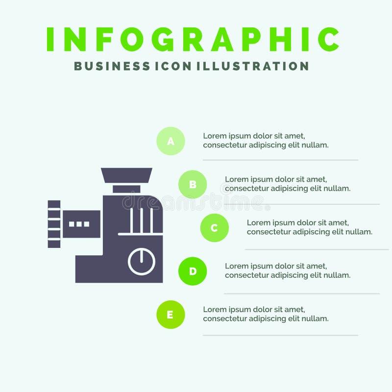 Miscelatore, cucina, manuale, modello di presentazione di Infographics della miscela Una presentazione di 5 punti royalty illustrazione gratis