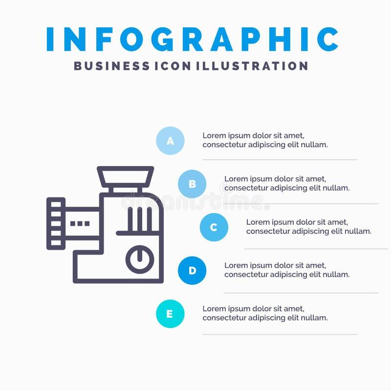 Miscelatore, cucina, manuale, punti blu del modello 5 di Infographics della miscela Linea modello di vettore dell'icona royalty illustrazione gratis