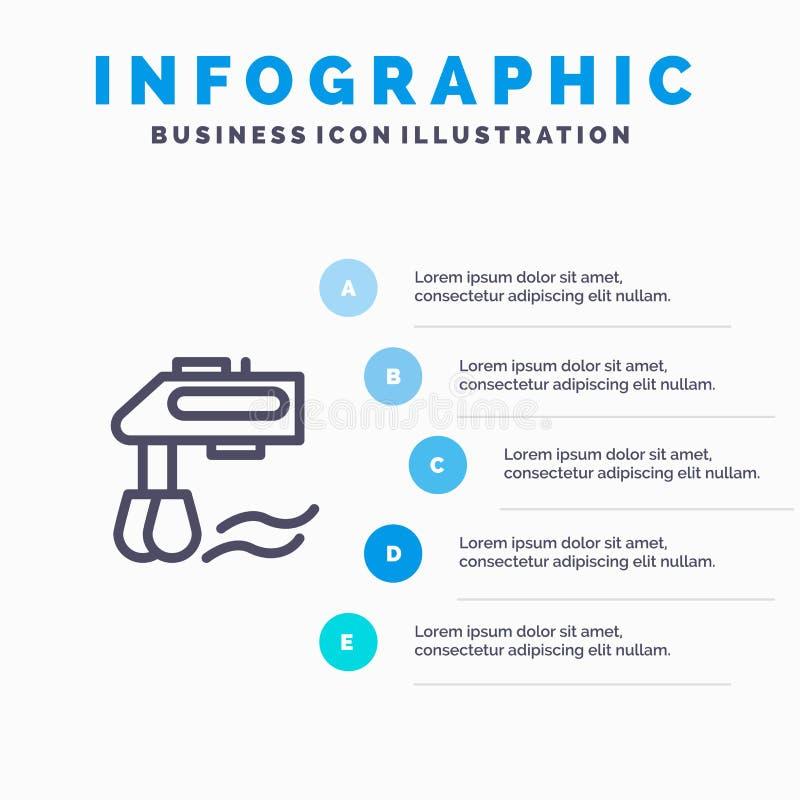 Miscelatore, cucina, manuale, punti blu del modello 5 di Infographics del miscelatore Linea modello di vettore dell'icona royalty illustrazione gratis