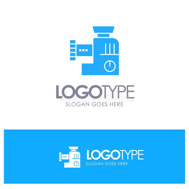 Miscelatore, cucina, manuale, vettore blu di logo della miscela illustrazione di stock