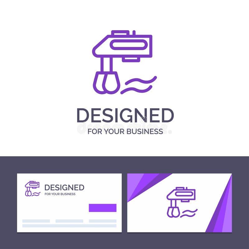 Miscelatore del modello creativo di logo e del biglietto da visita, cucina, manuale, illustrazione di vettore del miscelatore royalty illustrazione gratis