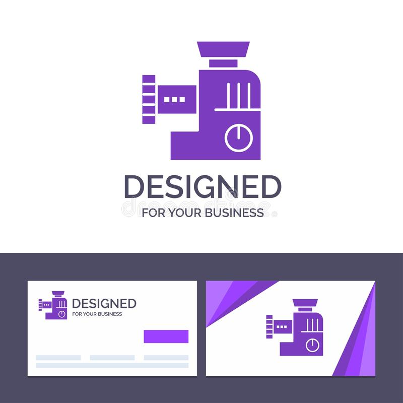 Miscelatore del modello creativo di logo e del biglietto da visita, cucina, manuale, illustrazione di vettore della miscela illustrazione di stock