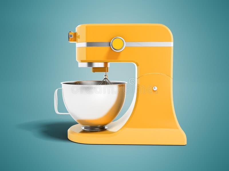 Miscelatore multifunzionale moderno per giallo della cucina con la rappresentazione della ciotola 3d del metallo sul fondo blu co royalty illustrazione gratis