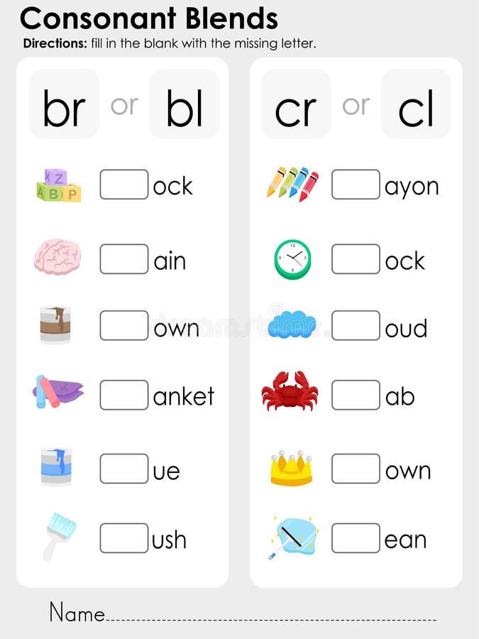Miscele di consonante: lettera mancante - foglio di lavoro per istruzione royalty illustrazione gratis