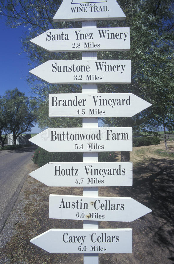 Miscellaneous distance signs in the wine country, California stock photos