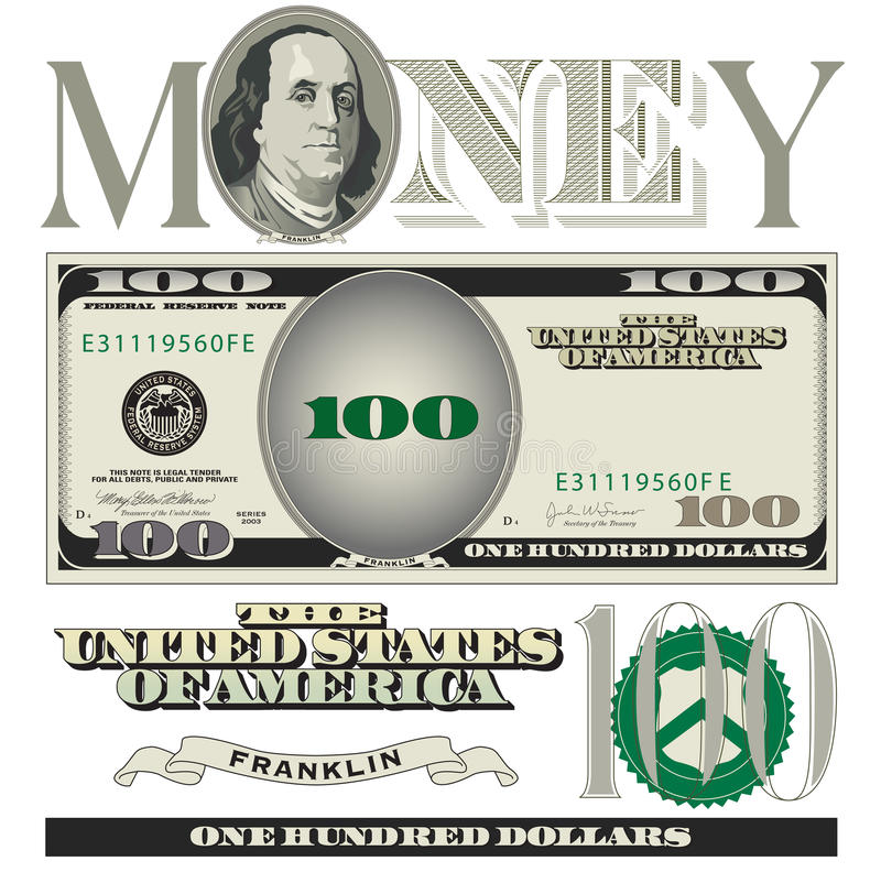 Download Miscellaneous 100 Dollar Bill Elements Stock Vector - Illustration of federal, banknote: 49298243