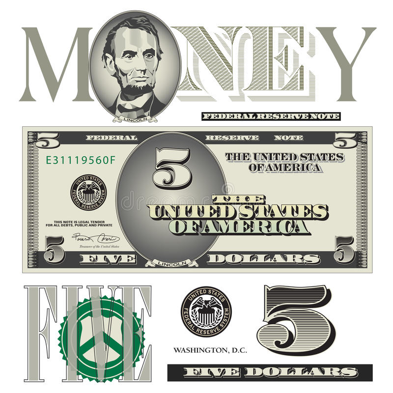 Miscellaneous 5 dollar bill elements vector illustration