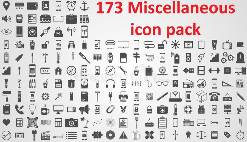 Miscellaneous icon pack vector sign ssymbols royalty free illustration