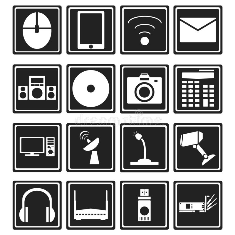 Miscellaneous multimedia raster icons vector. Is a general illustration stock illustration