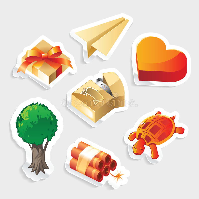 Download Miscellaneous Sticker Icon Set Stock Vector - Illustration of label, gray: 21709975