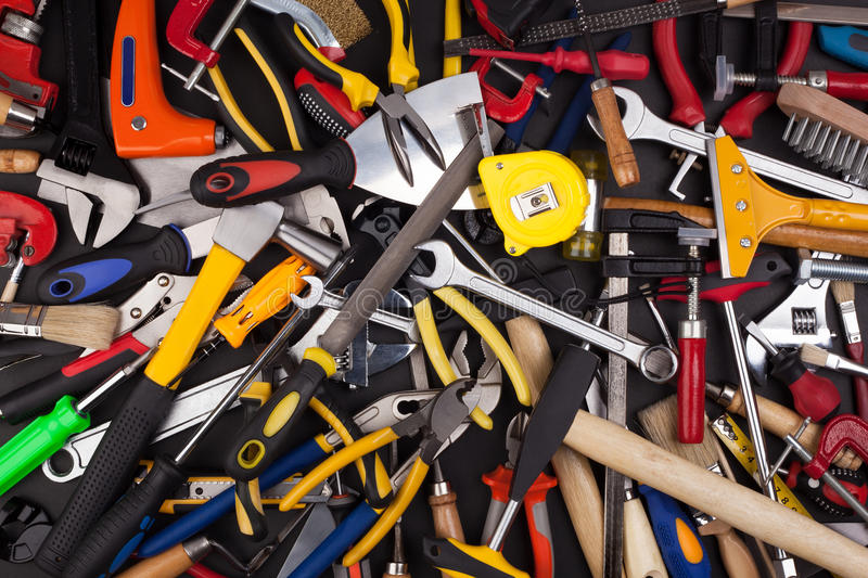Download Miscellaneous work tools. stock image. Image of abreast - 42401159