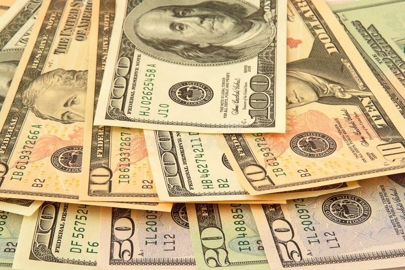 Mischdollarbanknoten lizenzfreie stockfotografie