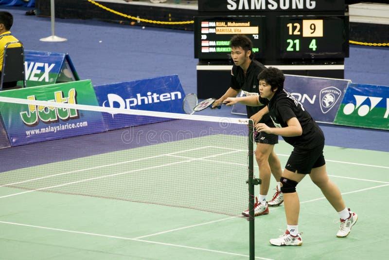 Mischdoppelt-Badminton - Kurniawan u. Irawati lizenzfreie stockfotografie