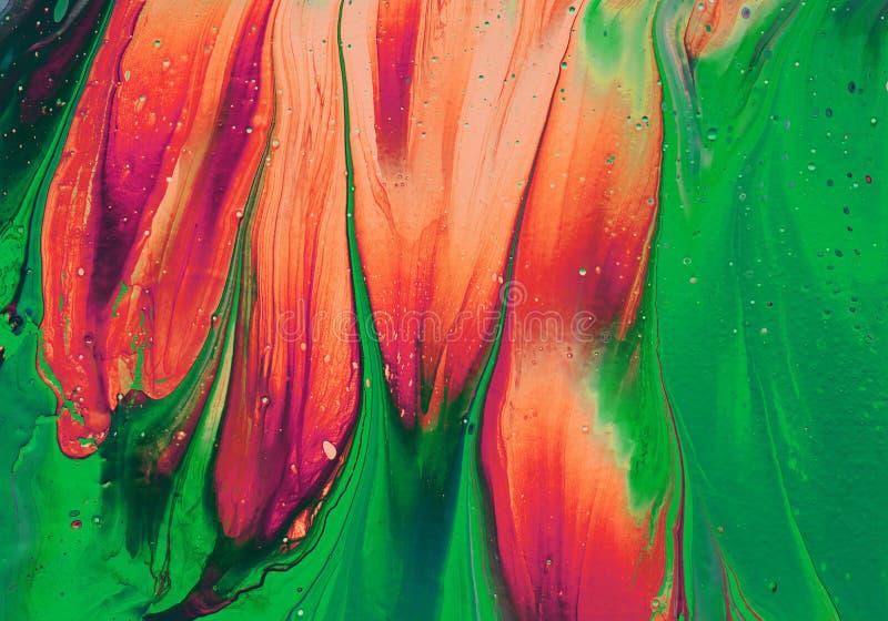 Mischen der abstrakten Farben in Orange und Grün Art Ink Paint Explode Colorful Fantasy lizenzfreie abbildung