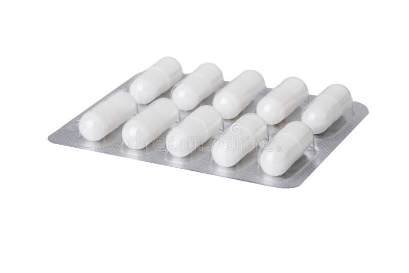 Mischen Sie Tabletten in den Pillentabletten in den Blasenkapseln und in den Tabletten, die in den Blasen verpackt werden Drogen  stockfoto