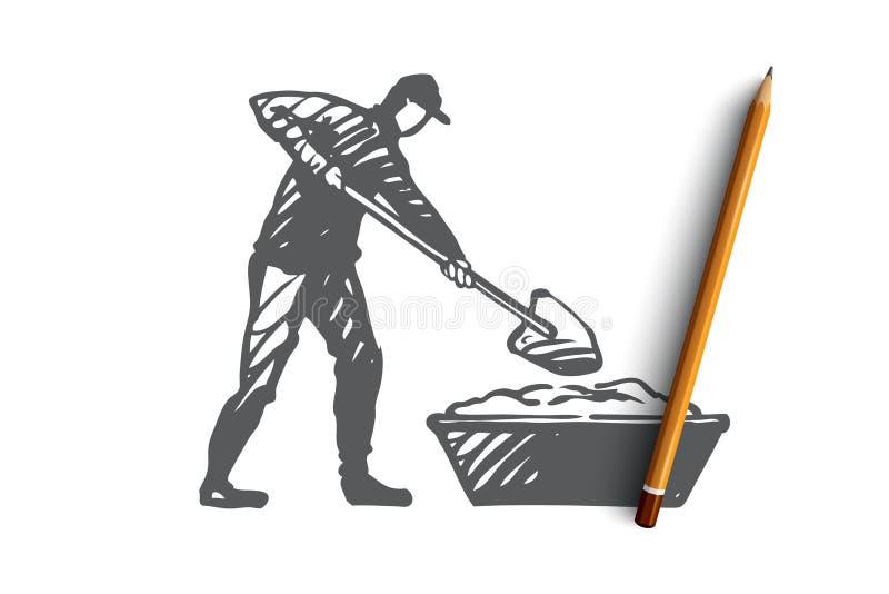 Mischen, Zement, Reparatur, Arbeitskraft, Ausrüstungskonzept Hand gezeichneter lokalisierter Vektor lizenzfreie abbildung