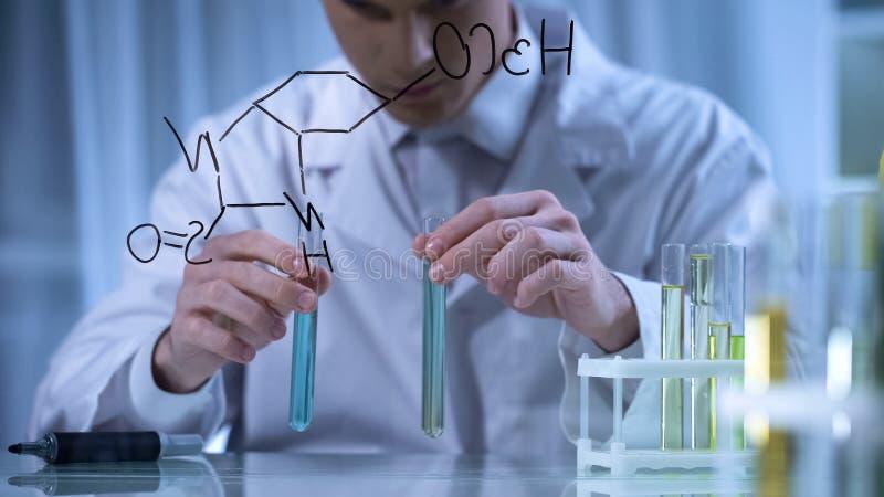 Mischende Reagenzien des Forschers in den Reagenzgläsern entsprechend der Formel geschrieben auf Glas stockbild