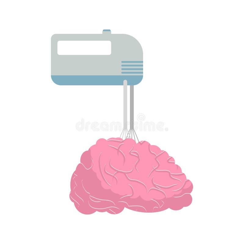 Mischer und Gehirn Mischen Sie Ihre Gehirne und Gedanken Vektor illustrati vektor abbildung