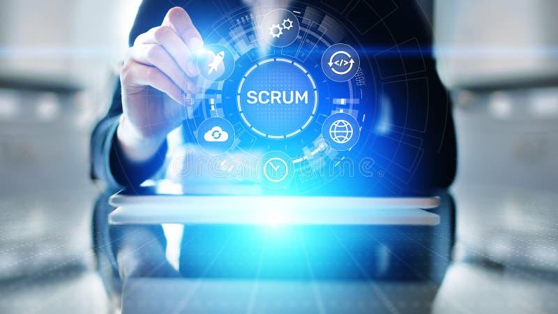 MISCHIA, metodologia agile di sviluppo, programmare e concetto di tecnologia di progettazione di applicazione sullo schermo virtu illustrazione di stock