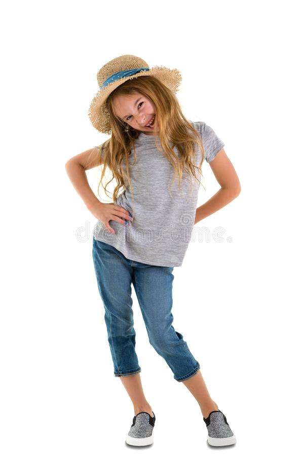 Mischievous playful 6 year old little girl royalty free stock photos