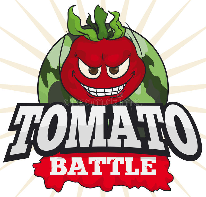 Mischievous Tomato over Military Button for a Funny Tomato Battle, Vector Illustration stock illustration