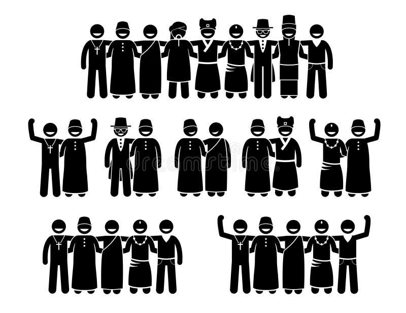 Mischkultur-, gemischtrassige, multikulturelle und ruhigereligionen der menschlichen Stellung zusammen vektor abbildung