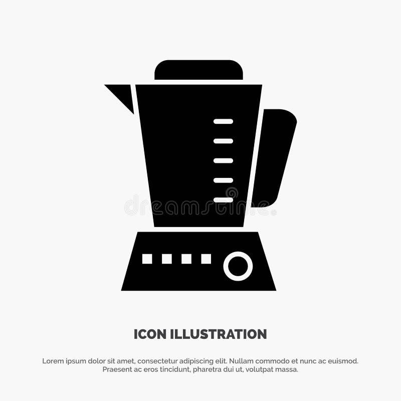 Mischmaschine, elektrisch, Haupt, Maschine feste schwarze Glyph-Ikone vektor abbildung