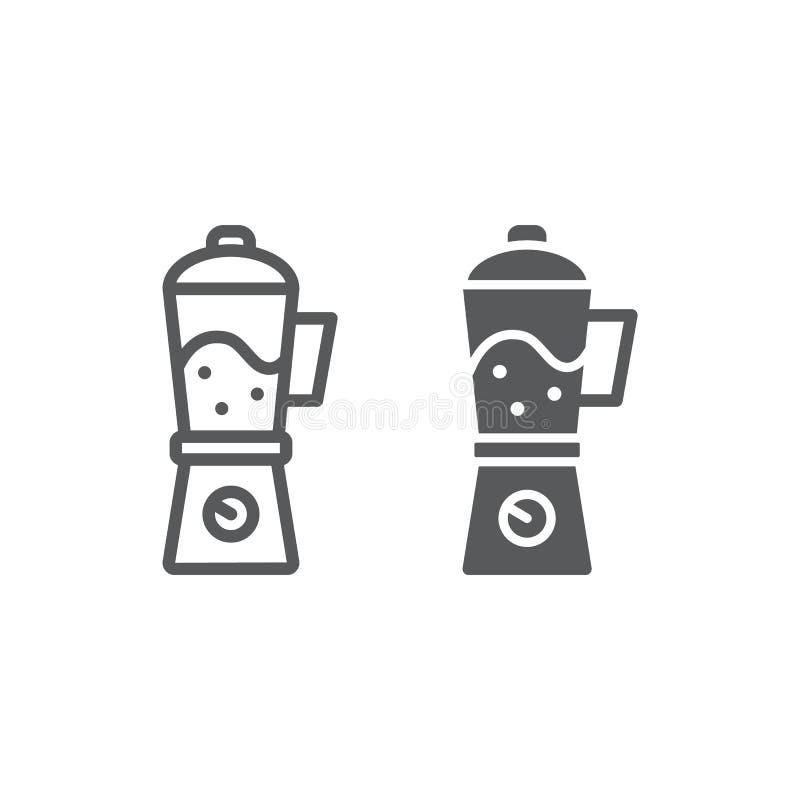 Mischmaschinenlinie und Glyphikone, Haus und Haushalt, Gerätezeichen, Vektorgrafik, ein lineares Muster auf einem weißen Hintergr stock abbildung