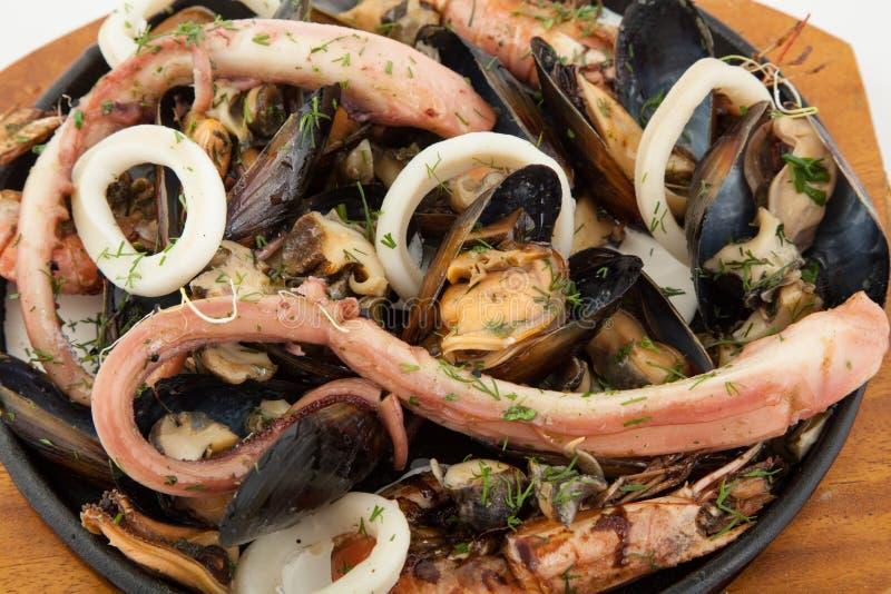 Mischmeeresfrüchteservierplatte Sortierte Meeresfrüchte auf Platte Abschluss oben lizenzfreie stockfotografie