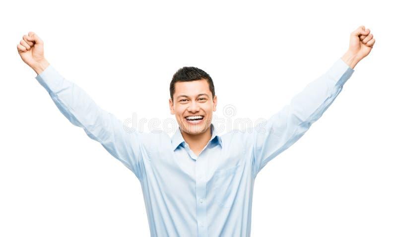 Mischrassegeschäftsmann, der den Erfolg lokalisiert auf weißem BAC feiert stockfotografie