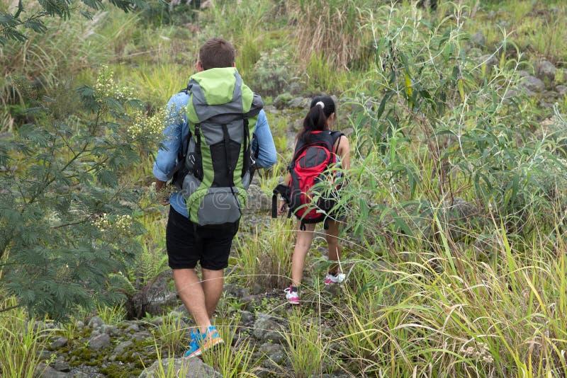 Mischrassepaare gehen Trekking zusammen und gehen auf ein ansteigendes stockfoto