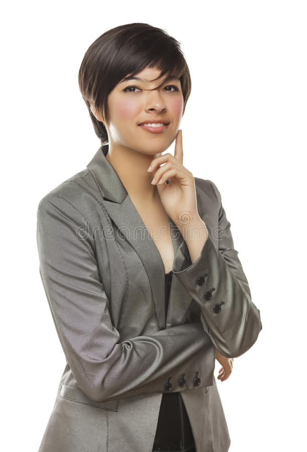 Mischrennen-junge erwachsene Frau-Haltungen auf Weiß stockbilder