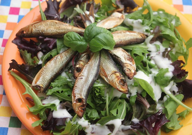 Mischsalat mit Fischen stockfotos