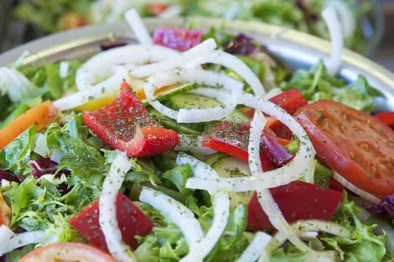 Mischsalat mit Kopfsalat, roten Pfeffern, Tomaten und Zwiebeln, als Starter, Beilage oder erster Kurs für eine Pflanzenkost lizenzfreies stockfoto