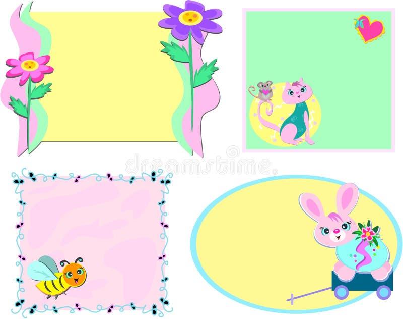 Mischung der Felder mit Blumen und Tieren lizenzfreie abbildung