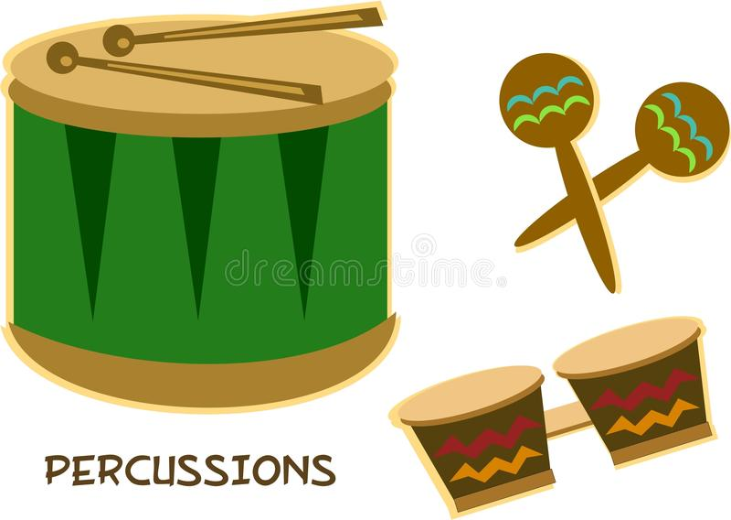 Mischung der Perkussions-Instrumente vektor abbildung