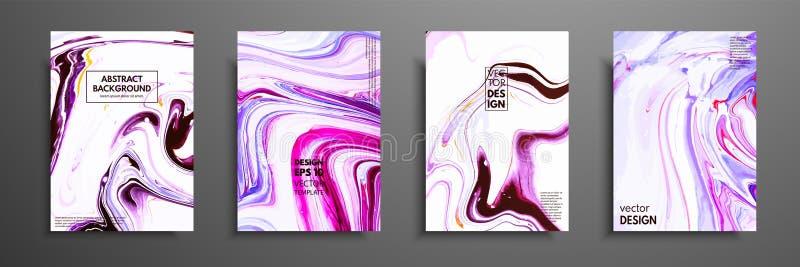 Mischung von Acrylfarben moderne Grafik Modisches Design Marmoreffektmalen Grafische Hand gezeichnetes Design für Abdeckung lizenzfreie abbildung