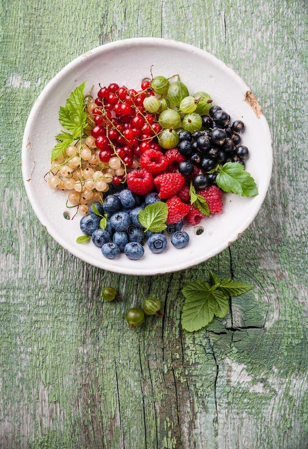 Mischung von frischen Beeren mit Blättern stockfoto
