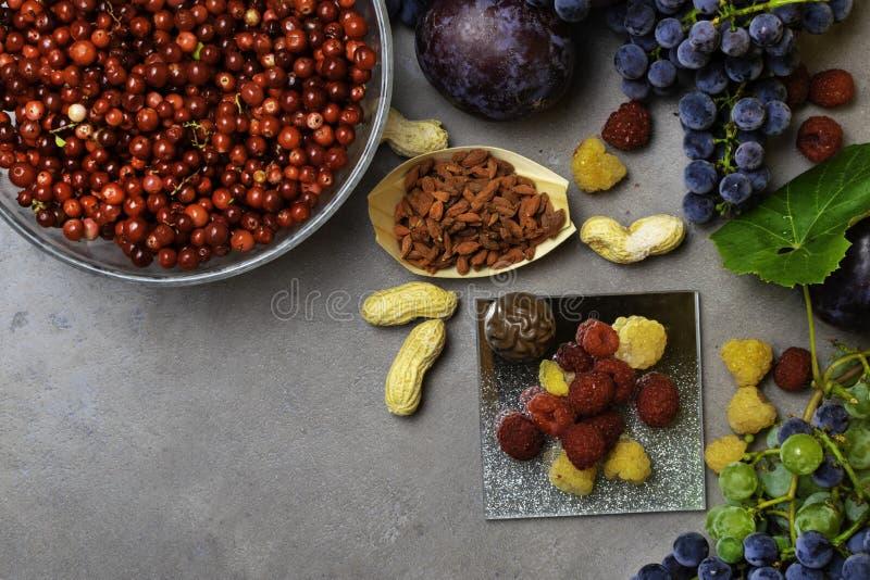 Mischung von frischen Früchten und von Beeren, reich mit rohen Lebensmittelinhaltsstoffen des Resveratrol Nahrungshintergrund stockbilder