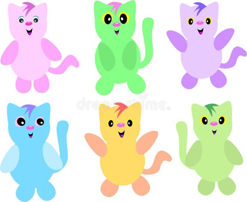 Mischung von sechs Katzen lizenzfreie abbildung