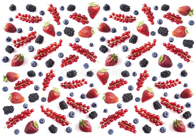 Mischungsbeeren und -früchte auf weißem Hintergrund Reife Blaubeeren, Brombeeren, Erdbeeren und rote Johannisbeeren Beschneidungs stockbilder