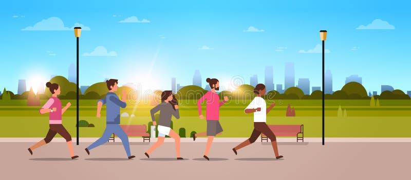 Mischungsrennleute, die flach gesunden Lebensstil des aktiven Sportmannfraueneignungslauftrainings-Weltgesundheitstageskonzeptes  stock abbildung
