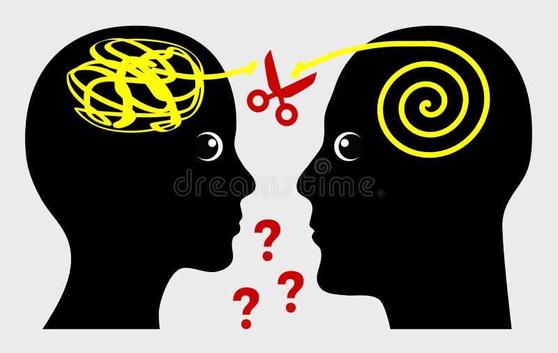 Miscommunication στο γάμο ή την επιχείρηση διανυσματική απεικόνιση
