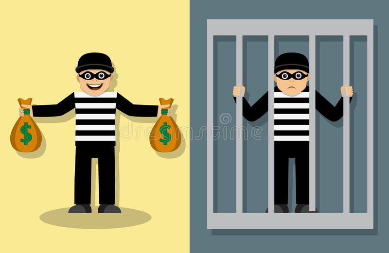 Misdaad en straf royalty-vrije illustratie