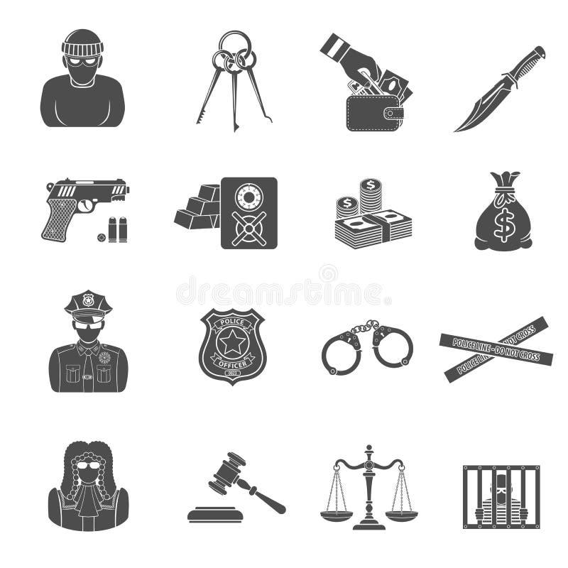 Misdaad en Straf Geplaatste Pictogrammen stock illustratie