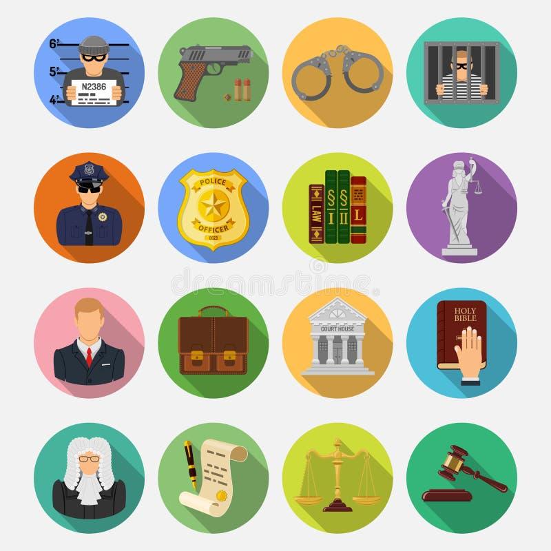 Misdaad en Straf Vlakke Pictogrammen royalty-vrije illustratie