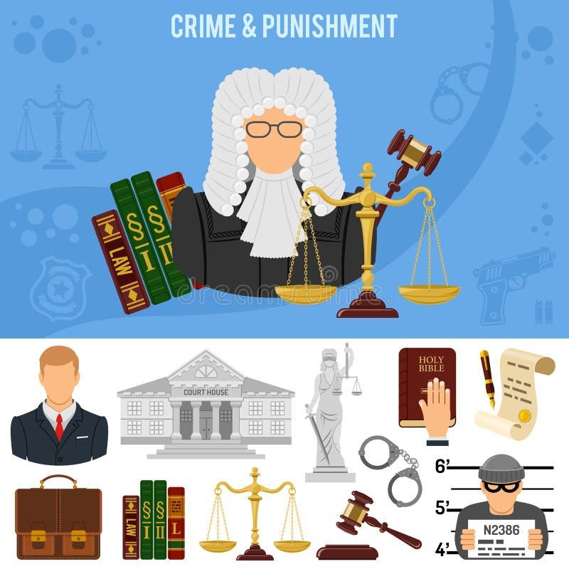Misdaad en Strafbanner royalty-vrije illustratie