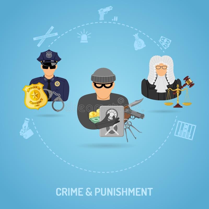 Misdaad en Strafconcept royalty-vrije illustratie
