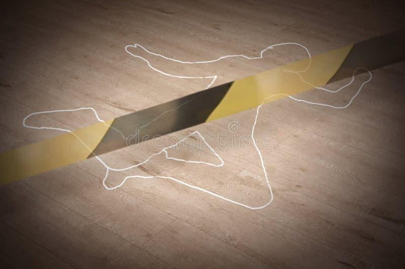 Misdaadscène met het silhouet van het slachtoffer stock fotografie